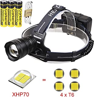 LED XHP70 Rechargeable Headlamp,8000 Lumen High Lumens Brightest Headlamps Flashlight 3 Modes Zoomable Headlight Head Torch for Outdoor Caving Hunting With Power Bank function