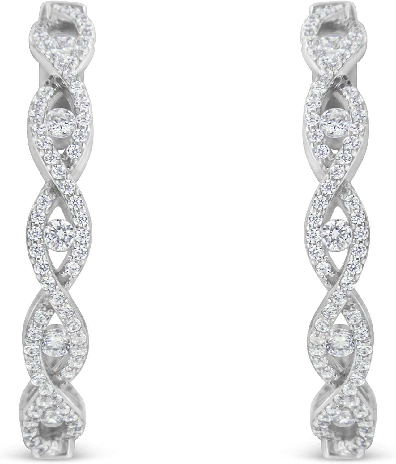 10K White Gold Diamond Hoop Earrings cttw H-I 2 Financial sales sale Year-end annual account I1- Color 1