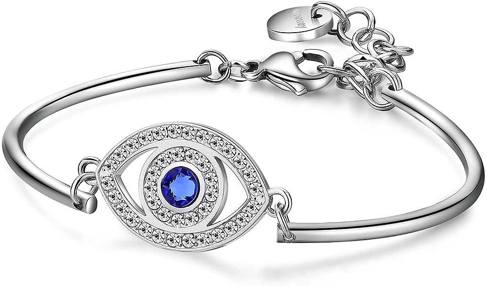 Brosway chakra trendy bracciale per donna in acciaio con piastrina a forma di occhio e swarovski bianchi BHK90
