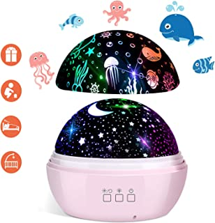Star Projector, FishOaky 3 in 1 Star Ocean Night Light Projector 360°Rotating 8 Colors Mode Night Lights with USB Cable, Popular Gifts for Kids Birthday Christmas,Toy for 3 4 5-10 Years Old Boy Girl