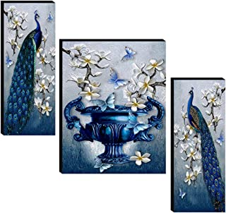 SAF Set of 3 Preety flower pot with couple peacock wall painting home décor items paintings for living room with frame wal...