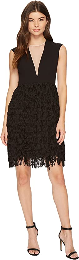 Crepe and Sequin Fringe Dress
