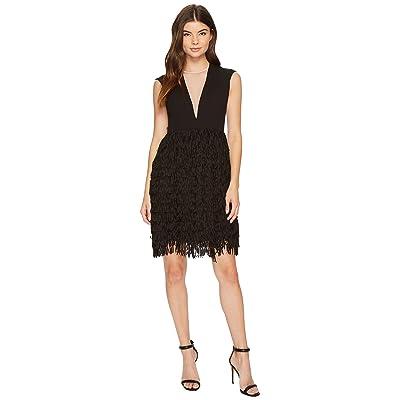 Aidan Mattox Crepe and Sequin Fringe Dress (Black) Women