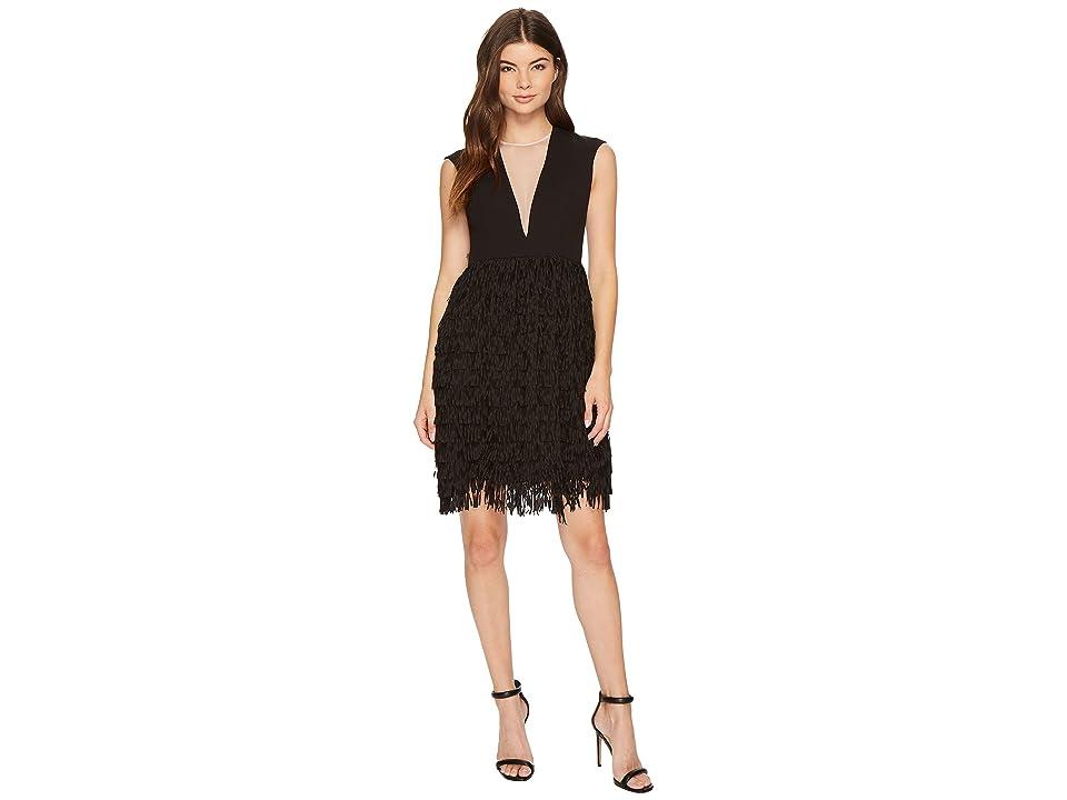 Image of Aidan Mattox Crepe and Sequin Fringe Dress (Black) Women's Dress