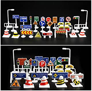 28 Pcs Car Traffic Signs Toy Set, Elaco Car Toy Accessories Traffic Road Signs Kids Children Play Learn Toy Game