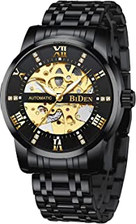 Mens Watches Black Mechanical Automatic Stainless Steel...