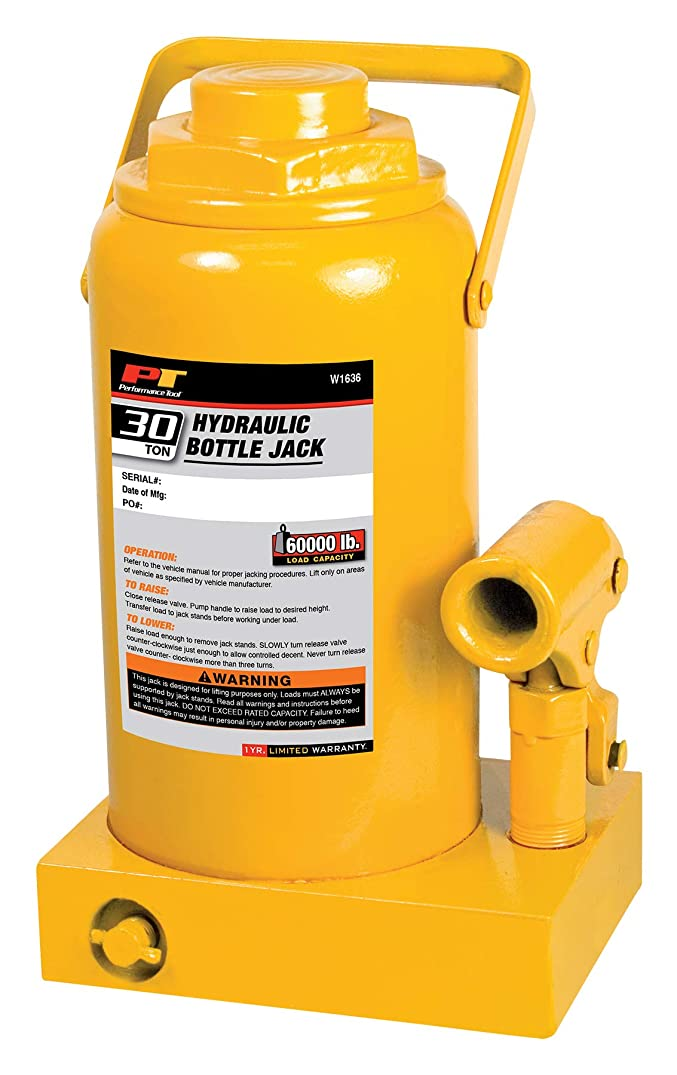 Performance Tool W1636 30-Ton (60,000 lbs.) Heavy Duty Hydraulic Bottle Jack | Lift Range: 11-1/4