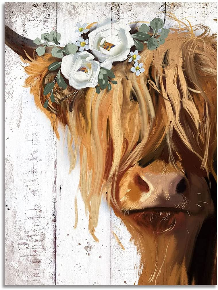 Cow Print Farmhouse Wall Decor, Abstract Canvas Paintings Picture Prints Artwork for Home Decor (Brown, 12x16inch)