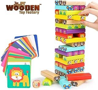 The Wooden Toy Factory - Juego de Torre de Bloques de Madera Animales 4 en 1, Juguete de Sobremesa Educativo para Niños y Niñas (Juego de Torre de Bloques de Madera Animales 4 en 1)