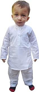 Flawn't Plain White Cotton Kurta and Pajama Set for toddler boys