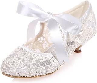 Creativesugar Women Shoes, Vintage Mary Jane Closed Toe Kitten Heel, Lace Wedding Bridal Shoes Ribbon Tie