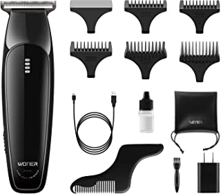WONER Beard Trimmer, Fine-Cut Hair Trimmer, Electric Cordless Hair Clippers Shavers with Beard Shaping Tools, Multi-functional Groomer Shaving, Close to Zero Cutting