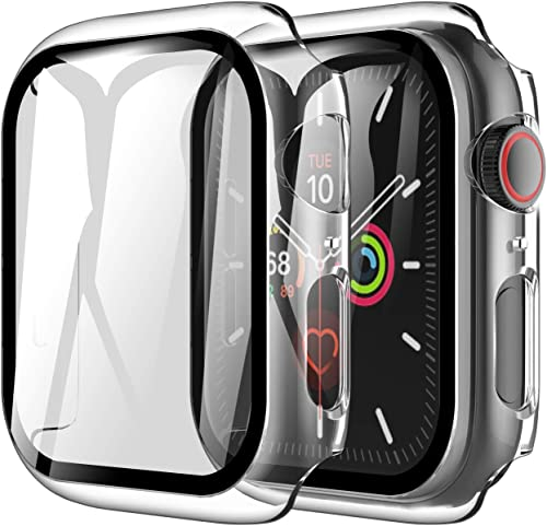 LK 2 Pack Tempered Glass Case Compatible With Apple Watch SE Series 6 Series 5 Series 4 40mm, Model No. LK3356, Built...