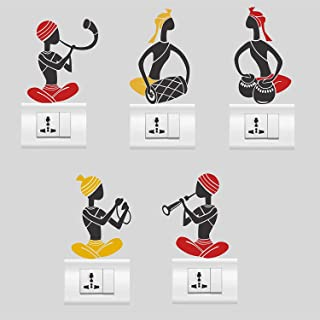 Heaven Decors Musician Wall Stickers for Switches Board (Vinyl, Standard Size, Black)