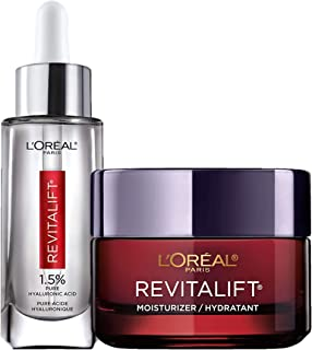 L'Oreal Paris Revitalift Anti-Aging Skin Care Regimen Kit with Hyaluronic Acid Facial Serum and Triple Powe...
