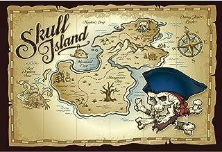 DORCEV Skull Island Map Photography Backdrop Pirate Theme Boys Birthday Party Background Skull Island Adventure Places Map Pirate Party Cake Table Wallpaper Kids Adult Photo Studio Props
