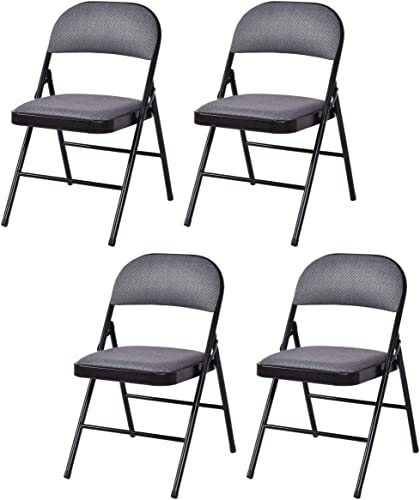 wholesale Giantex 4-Pack Folding Chairs with Metal Frame and high quality Fabric Upholstered Padded Seat, Foldable Home Office Party Chair sale Set (Grey) online sale