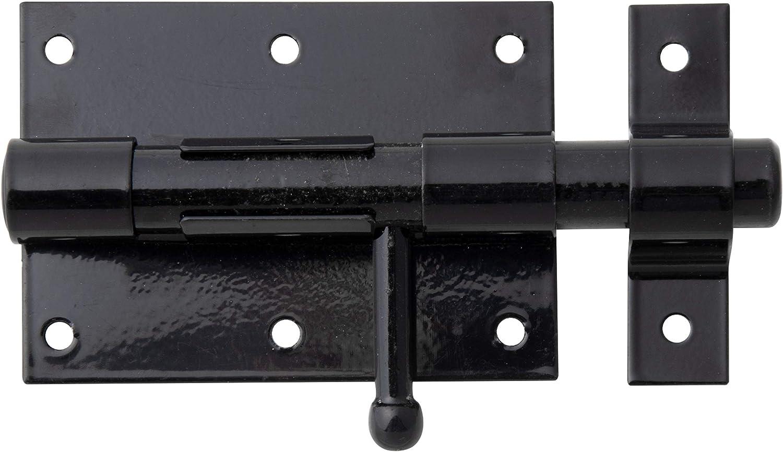 plastifi/ée 70 x 57 mm galvanis/ée avec g/âche serr/ée Noir Laqu/é Longueur totale 100 mm GAH-Alberts 137281 Verrou de Box Bouton 10 pi/èces