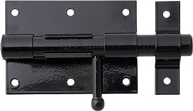 GAH-Alberts 137021 boutgrendel, met ronde greep en bevestigde lus, zwarte kunststof coating, plaat 95 x 67 mm, bout ⌀ 15,5...