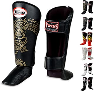 Twins Special Shin Guard Protector Fancy FSG Color Black White Gold Silver Size S M L for Protection in Muay Thai, Boxing,...