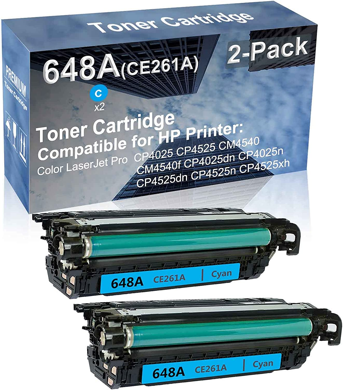 2-Pack (Cyan) Compatible High Yield 648A (CE261A) Laser Printer Toner Cartridge use for HP CP4525dn CP4525n CP4525xh Printer