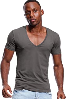 Deep V Neck T Shirt for Men Low Cut Vneck Tee Invisible Tshirt Vee Top Scoop Hem
