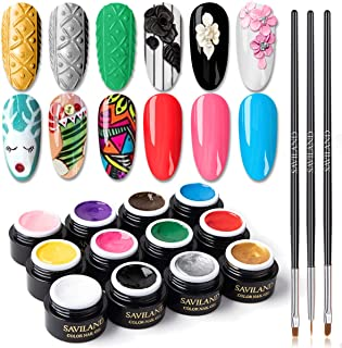 Saviland 12 Colors 3 in 1 Gel Art Paint for Nails with 3pcs Brush Pens,6ml/pcs Cable Knit Sweater Nail with 3D Embossed Ge...
