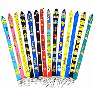 CheeseandU 10Pack Cartoon Neck Lanyard Necklace Phone Straps Key Chain, Cute Pikachu Series Neck Lanyard for ID Badge Holder Bags Accessories with Lobster Clasps for Men Women Kids School Gift, Random