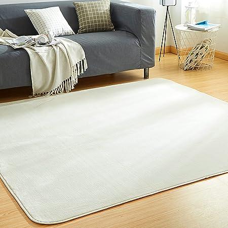 VK Living カーペット ラグ 洗える 滑り止め付 防ダニ 抗菌 防臭 185×185cm(約2畳) 12色選べる 1年中使えるタイプ 床暖房 ホットカーペット対応 ふわっと手触り 優しいフランネルラグ 絨毯 ムジ柄・アイボリー
