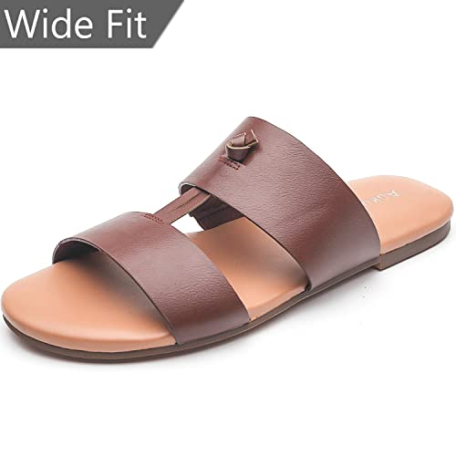 6eb1466c3f4 Aukusor Wide Width Flat Sandals for Women with Two Straps and Memory Foam  Insole