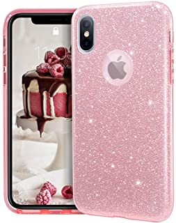 MATEPROX iPhone XS hoes, iPhone X hoes, glitter beschermhoes glitter bling telefoonhoes voor 5,8 inch iPhone X/XS-Roze