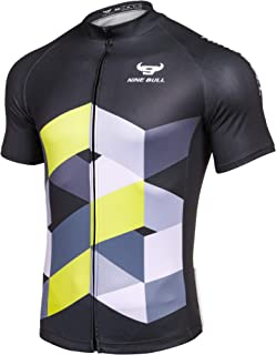 nine bull Men's Cycling Bike Jersey Short Sleeve with 3 Rear Pockets- Moisture Wicking, Breathable, Quick Dry Biking Shirt