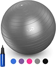JBM Exercise Yoga Ball with Free Air Pump (4 Sizes 5 Colors) 400 lbs Anti-burst Slip-resistant Yoga Balance Stability Swiss Ball for Fitness Exercise Training Core Strength