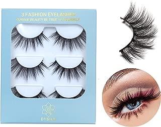 DYSILK 3D Eyelashes Faux Mink False Eyelashes Natural Look Wispy Extension Makeup Long Handmade Fake Eyelashes Fluffy Soft Reusable Black 3 Pairs