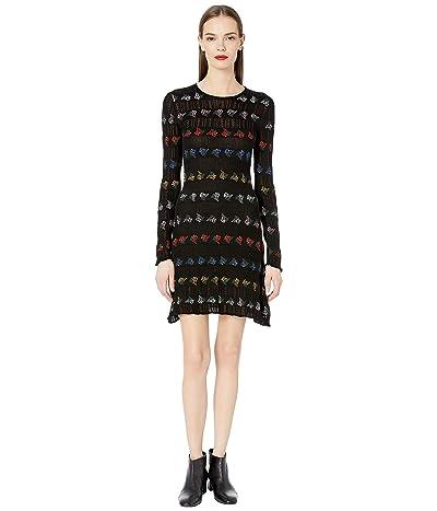Sonia Rykiel Open Work and Jacquard Stripes Dress (Noir Multicolor) Women
