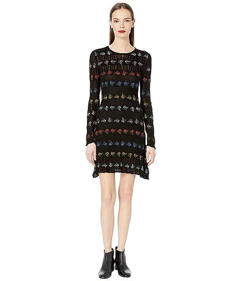Sonia Rykiel Open Work and Jacquard Stripes Dress