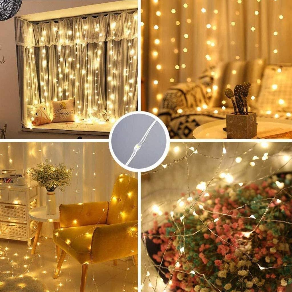 LIFEIYAN LED-Vorhang-Licht, USB-Schnur-Licht 3M X 3M 300 LED Mit Fernbedienung 8 Modi, Sterne Lichterketten For Hochzeit, Schlafzimmer, Weihnachten, Party, Bett-Überdachung, Garten, Terrasse, Outdoor Blue-3m*2m(300led)