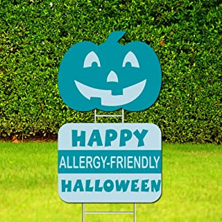 Halloween Yard Sign and Outdoor Lawn Decorations-Teal Pumpkin - Halloween Allergy Friendly & Smiling Pumpkin Yard Signs, Plastic - Set of 2 ,Double-Sided Printing