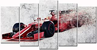 Sea Charm - Canvas Print Wall Art Painting Abstract Red Speedy Racing Car Picture Disappearing Sports Car Modern Giclee Prints Stretched and Framed Artwork,Large 5 Panel Art