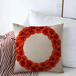 Throw Pillow Case Day Remembrance Wreath Red Poppies Floral Round Pattern Nature Poppy Australia Anzac Army Design Farmhouse Decorative Square Covers 18