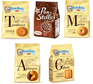 Mulino Bianco:Assorted Biscuits * Total 61.72 Ounce (1750g) * Pack of 5 [ Italian Import ]