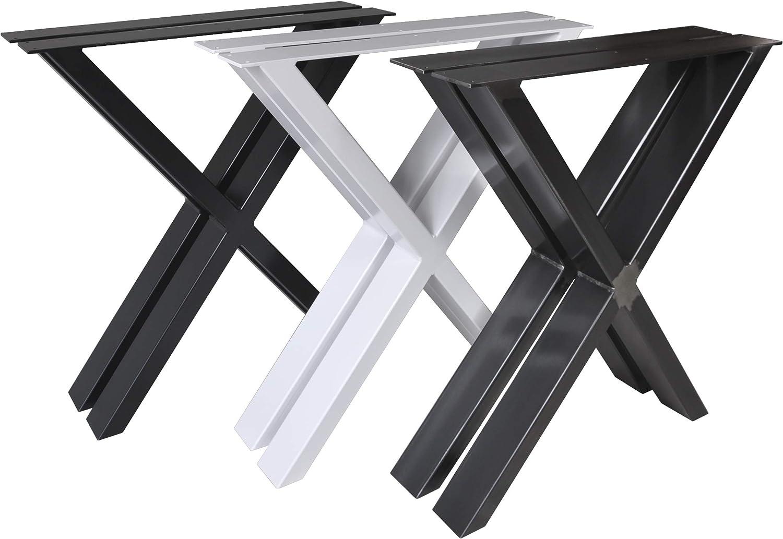 Magnetic Mobel 2 x Tischgestell Tischkufen Tischuntergestell Tischbeine X - Gestell (Schwarz, B64 x H72 cm)