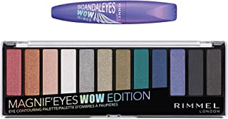 Rimmel Magnif`eyes Wow Palette and Scandal`eyes Wow Wings 003, Extreme Black, 0.4 Ounce, Wow Edition + Mascara, Pack of 2