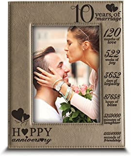 BELLA BUSTA-Happy 10th Anniversary-10 Years of Marriage,Months, Weeks, Days, Hours, Weeks, Minutes, Seconds- 10 Years Engraved Leather Picture Frame (4