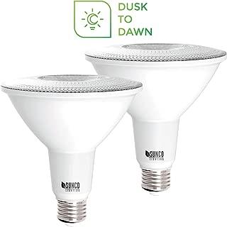 Sunco Lighting 2 Pack PAR38 LED Bulb with Dusk-to-Dawn Photocell Sensor, 15W=120W, 5000K Daylight, 1250 LM, Auto On/Off, Security Flood Light Indoor/Outdoor - UL