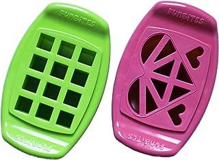 FunBites Food Cutter Set, Green Squares, Pink Hearts
