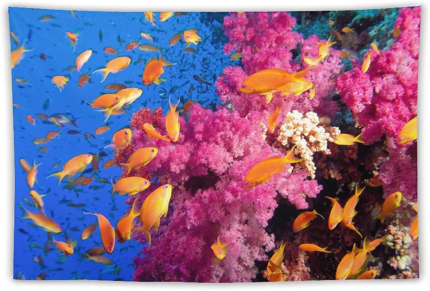 Ocean Underwater Golden Shoal of High material Coral Popularity Tropical Purple Fish