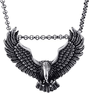 Retro Eagle Pendant Necklace for Men Stainless Steel Animal Jewelry with Chain Boyfriend Gift,KP80928-LU,45cm 18inch