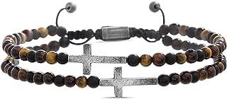 Cross Station Double Strand Beaded Adjusable Bracelet for...
