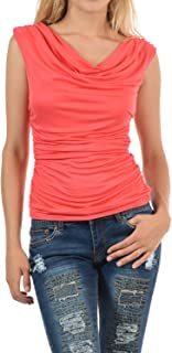 Auliné Collection Womens Career Solid Color Ruched Cowl Neck Casual Blouse Top